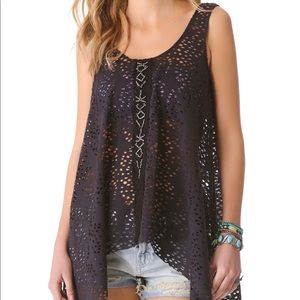 Free People | Black/Charcoal Beaded Tunic |Size XL